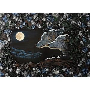 Telihold - domborműves kép Paverpol-lal, Művészet, Más művészeti ág, Festészet, Amikor felkel a telihold, felébred a vadon is…\n\nPaverpol technikával készítettem ezt a 70 x 50 cm-es..., Meska