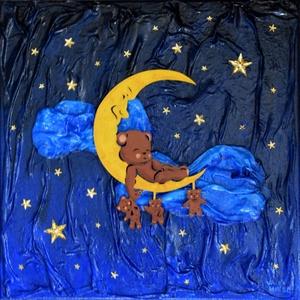 Édes álom - domborműves kép Paverpol-lal, Művészet, Más művészeti ág, Festészet, Édes, békés álom… Vajon miről álmodhat ily békésen ez a kis maci a félholdon feküdve?\n\nPaverpol tech..., Meska