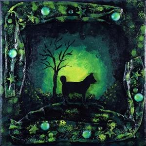 Éjjeli séta - kutyás, éjszakás, domborműves kép Paverpol-lal, Művészet, Más művészeti ág, Festészet, Egy kis éjszakai, felfedező séta… Vajon hova tart ez a kutyus ilyen késő éjjel?\n\nPaverpol technikáva..., Meska