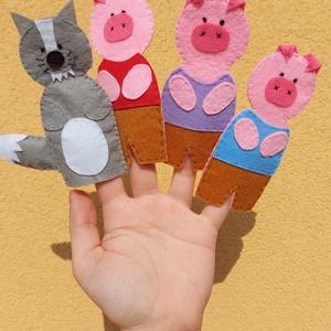 A három kismalac ujjbáb készlet, Játék & Gyerek, Bábok, Ujjbáb, Kedves kis ujjbábok A három kismalac című mese elmeséléséhez.  A bábok mérete: 11x5 cm   Kézzel varr..., Meska