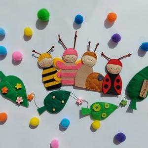 Tavaszi bogárbarátok ujjbábkészlet leveles indával , Játék & Gyerek, Bábok, Ujjbáb, Baba-és bábkészítés, Varrás, Igazi tavaszi hangulatot teremthetsz ezzel a kedves kis bogaras készlettel! :)\n\nA bogarak ujjbábként..., Meska