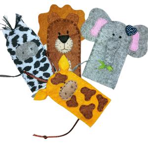 Vadállatok ujjbábkészlet , Játék & Gyerek, Bábok, Ujjbáb, Baba-és bábkészítés, Varrás, Vadállatok, mégis nagyon  cukik! :)\n\nEgy csapatban az oroszlán, zebra, zsiráf és elefánt! :)\n\nMérete..., Meska