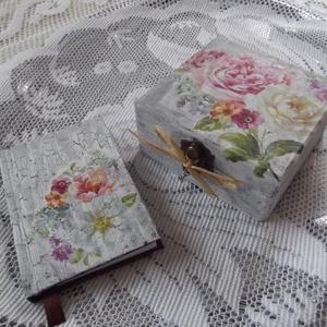 Napló és doboz szettben, Otthon & Lakás, Doboz, Tárolás & Rendszerezés, Romantikus repesztett rózsás szett, amely áll egy A7-es méretű sima lapokból álló naplóból és egy 11..., Meska