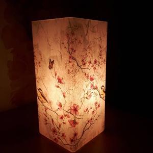Asztali lámpa éjjeli lámpa hangulatvilágítás, Otthon & lakás, Lakberendezés, Lámpa, Asztali lámpa, Hangulatlámpa, Olvasólámpa, Decoupage, transzfer és szalvétatechnika, 10*10*22 cm-es méretű lámpa. Homokfúvott üvegre először rizspapírt ragasztottam, erre került a madár..., Meska