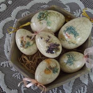 Húsvéti tojások 6 db-os szett, Otthon & Lakás, Dekoráció, Asztaldísz, Hungarocell tojások 10, ill. 8 cm-es méretűek, szalvétatechnikával díszítve mindkét oldaluk, repeszt..., Meska