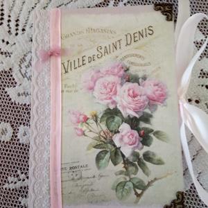 Vendégkönyv emlékkönyv napló, Vendégkönyv, Emlék & Ajándék, Esküvő, Decoupage, transzfer és szalvétatechnika, Natúr A5-ös méretű sima lapokból álló naplót díszítettem vintage stílusban. Country rózsaszínűre fes..., Meska
