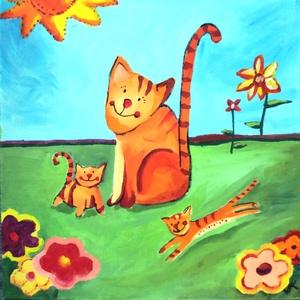 Vidám cica család - 3D keret, Otthon & lakás, Képzőművészet, Festmény, Akril, Festészet, Cica mama és két kicsinye vidáman játszanak a kertben. Napfény, virágok, szeretet, Gyerekszobába ajá..., Meska