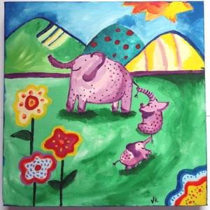 Elefánt család mama gyerekek - 3D kép, Otthon & lakás, Képzőművészet, Festmény, Akril, Festészet, Elefánt mama és két kicsinye vidáman játszanak a zöld kertben. Napfény, virágok, szeretet, Gyerekszo..., Meska
