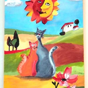 Macska szerelem Toscana - 3D keret, Otthon & lakás, Képzőművészet, Festmény, Akril, Festészet, Nyaralás az olasz dombok között. Napfény, szerelem, macska pár. A kép saját tervek alapján készült. ..., Meska