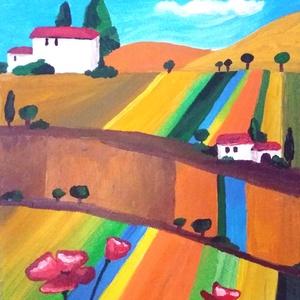 Toszkán nyári táj pipaccsal, Otthon & lakás, Képzőművészet, Festmény, Akril, Festészet, Vidám, nyári napfényes hangulat az olasz dombok között, előtérben pipacsokkal. A kép saját tervek al..., Meska