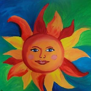 Vidám, mosolygós Napocska az égen - 3D akril kép, Otthon & lakás, Képzőművészet, Festmény, Akril, Festészet, Borongós napokon színt és életkedvet visz a házba ez a festmény. A saját tervezésű napocskám a szere..., Meska