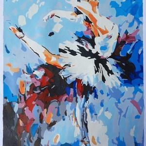 Balerina, absztrakt akril festmény, Akril, Festmény, Művészet, Festészet, Absztrakt egyedi, kézzel festett balerina kép, háttérben a kék és vörös különböző árnyalataival.\nElő..., Meska