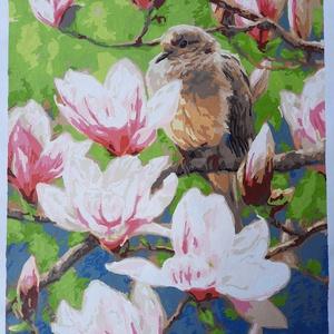 Madár a magnólia fán, akril festmény, Akril, Festmény, Művészet, Festészet, Vidám tavaszi kép, élénk színekkel, mely virágzó magnólia fán egy kismadarat ábrázol.\nElőre nyomtato..., Meska