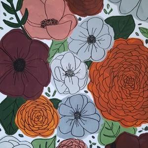 Virágok őszi színekkel, akril festmény , Akril, Festmény, Művészet, Festészet, Fakeretre feszített vászon festmény, mely virágokat ábrázol az ősz színeivel. A kép festéséhez akril..., Meska