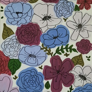 Virágok lila és kék árnyalatokban, modern akril festmény , Akril, Festmény, Művészet, Festészet, Fakeretre feszített vászon festmény, mely virágokat ábrázol lila és kék árnyalatokban. A kép festésé..., Meska