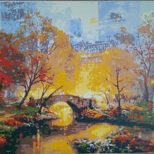 Ködös este a Central Parkban - akril absztrakt festmény, Akril, Festmény, Művészet, Festészet, Előre nyomtatott minta, akrillal kézzel festve.\nEgy ködös őszi estét ábrázol, New York-ban, a Centra..., Meska