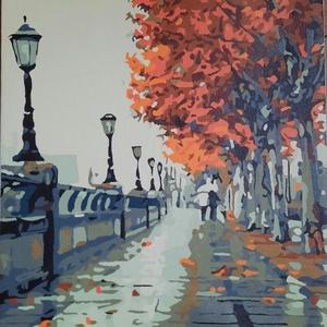 Őszi séta a Temze parton - akril absztrakt festmény, Akril, Festmény, Művészet, Festészet, Előre nyomtatott minta, akrillal kézzel festve.\nBorongós őszi napon egy sétáló párt ábrázol, Londonb..., Meska