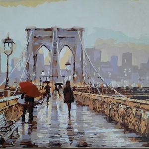 Esős nap a Brooklyn hídon - akril absztrakt festmény, Akril, Festmény, Művészet, Festészet, Előre nyomtatott minta, akrillal kézzel festve.\nEgy esős őszi napot ábrázol, New York-ban, a Brookly..., Meska