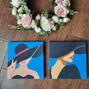 Samatha és Charlotte kalapban - 2 db női absztrakt portré, modern akril festmény , Akril, Festmény, Művészet, Festészet, 2db modern női absztrakt portré.\nA képek festéséhez akrilt festéket használtam. Keretezést nem igény..., Meska