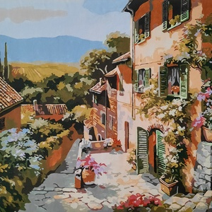 Napsütötte Toszkána - akril festmény, Művészet, Festmény, Akril, Festészet, Előre nyomtatott minta, akrillal kézzel festve.\nNapfényes toszkán falut ábrázol Olaszországban.\nA ké..., Meska