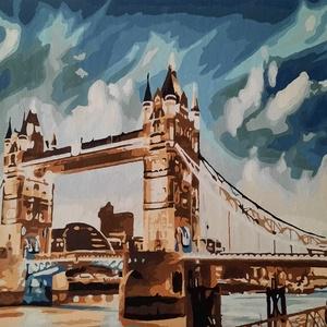 Londoni Tower Bridge éjjel - akril festmény, Művészet, Festmény, Akril, Festészet, Előre nyomtatott minta, akrillal kézzel festve.\nA képen a londoni Tower Bridge látható, esti fényekb..., Meska