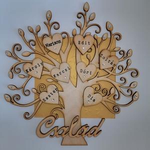 Családfa, életfa, nászfa, házasságfa - fehér fakeretben, Otthon & Lakás, Dekoráció, Falra akasztható dekor, Papírművészet, Famegmunkálás, Családfa 10-15 családtaggal, mélyített fehér fakeretben, plexi üveggel. Azonnal falra akasztható, va..., Meska