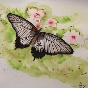 Pillangó, Otthon & lakás, Képzőművészet, Festmény, Akvarell, Festészet, Pillangót ábrázoló akvarell festmény. Mérete: 39x29,5 cm., Meska