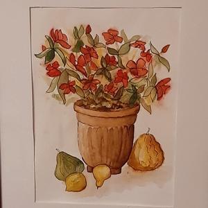 Csendélet, Otthon & lakás, Képzőművészet, Festmény, Akvarell, Festészet, Cserepes virág, dísztökök, őszi csendélet. A/4, keret nélkül., Meska
