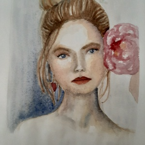 Magabiztos nő akvarell ingyenes szállítással, Otthon & lakás, Képzőművészet, Festmény, Akvarell, Festészet, Fotó, grafika, rajz, illusztráció, A/3 méretben készült akvarell festmény, mely egy fiatal hölgyet ábrázol. Eredeti festmény, nem lenyo..., Meska