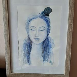 Pillangólány akvarell, ingyenes szállítással, Otthon & lakás, Képzőművészet, Festmény, Akvarell, Festészet, Fiaral lányt ábrázoló portré akvarellel, két szín felhasználásával. 24x34 c. Keret nélkül...., Meska
