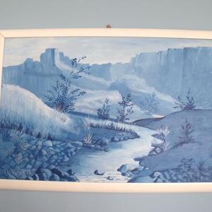 Csend a völgyben akril festmény keretezett, Otthon & lakás, Képzőművészet, Festmény, Akril, Lakberendezés, Falikép, Festészet, 64*44 cm akril festékkel készült, farostlemezre. Fehér kerettel keretezve.\nKitűnő ajándék karácsonyr..., Meska