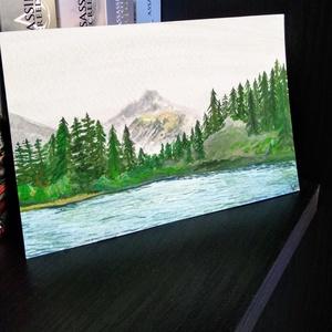 Kicsi tájkép 2 - Hegyek, Otthon & lakás, Képzőművészet, Napi festmény, kép, Festmény, Festmény vegyes technika, Akvarell, Festészet, Fotó, grafika, rajz, illusztráció, 15,4*10,4 cm-es temperával készült festmény, a papír 300g/m^2-es.\nTavaly augusztus óta festek ilyen ..., Meska