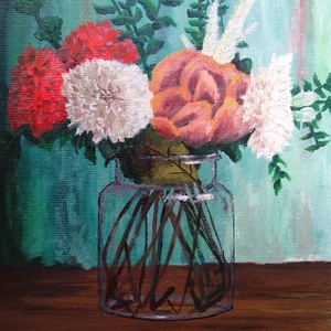 Virágok vázában - Olajfestmény, Otthon & lakás, Képzőművészet, Festmény, Olajfestmény, Napi festmény, kép, Festmény vegyes technika, Festészet, Fotó, grafika, rajz, illusztráció, Egy szép virágos festményt keresel, amit könnyen be lehet keretezni? Szeretnéd valahogyan feldobni a..., Meska