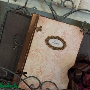 Vintage napló, Jegyzetfüzet & Napló, Papír írószer, Otthon & Lakás, Decoupage, transzfer és szalvétatechnika, Rendelésre készítek könyvet A5- ös méretben50 lappal ,szép rusztikus papírlapokkal,egyedileg köttete..., Meska