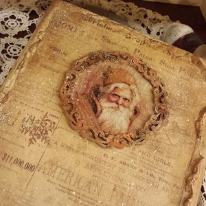 Nosztalgia karácsonyi könyv alakú doboz, Karácsonyi dekoráció, Karácsony & Mikulás, Otthon & Lakás, Decoupage, transzfer és szalvétatechnika, Egyedi kivitelezésű nagy könyv alakú doboz melybe rejtheted karácsonyi emlékeid, kisebb díszeid, fot..., Meska