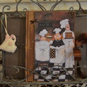 Nosztalgia receptfüzet, Naptár, képeslap, album, Otthon & lakás, Jegyzetfüzet, napló, Konyhafelszerelés, Decoupage, transzfer és szalvétatechnika, Rendelésre készítek receptes könyvet A5- ös méretben szép rusztikus papírlapokkal,egyedileg köttetet..., Meska