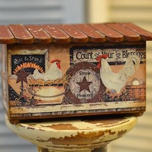 Húsvéti tojástartó láda , Láda, Tárolás & Rendszerezés, Otthon & Lakás, Decoupage, transzfer és szalvétatechnika, Country mintájú kakasos-tyúkos húsvéti koptatott fa láda, dekorációnak vagy asztalra , pultra tojáso..., Meska
