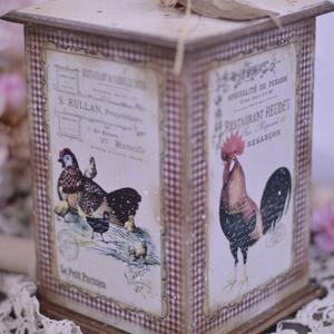 Nagy kekszes - kakós doboz , Konyhafelszerelés, Otthon & lakás, Fűszertartó, Lakberendezés, Decoupage, transzfer és szalvétatechnika, Fából készült nosztalgia kekszes ( kakós, kávés, csokis) doboz. 19x14 cm -es méretű azonnal elvihető..., Meska