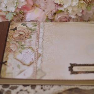 Rózsa mintás emlékkönyv,egyedi könyv, Naptár, képeslap, album, Otthon & lakás, Fotóalbum, Dekoráció, Papírművészet, Decoupage, transzfer és szalvétatechnika, \nBallagásra, búcsúztatóra, rajzoknak, fényképekek, kis emlékek beragasztsára is alkalmas. Rendelésre..., Meska
