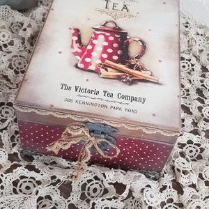 Pöttyös kannás teás doboz, a kredenc mélyéről, Konyhafelszerelés, Otthon & lakás, Lakberendezés, Tárolóeszköz, Doboz, Decoupage, transzfer és szalvétatechnika, Rendelésre készült, de szívesen elkészítem hasonló vagy más mintával is a részedre, 6 fakkos teafilt..., Meska