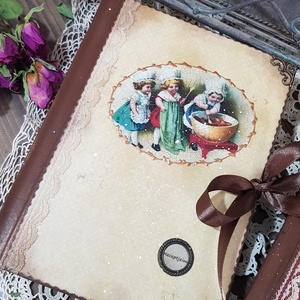 Nosztalgia receptfüzet, Otthon & lakás, Naptár, képeslap, album, Jegyzetfüzet, napló, Konyhafelszerelés, Decoupage, transzfer és szalvétatechnika, Félbőr kötésű alapra rendelésre készítek receptes könyvet A5- ös méretben szép rusztikus papírlapokk..., Meska