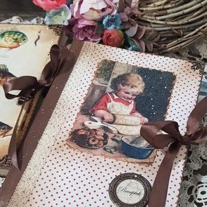 Receptfüzet a nagymama szekrényéből, Naptár, képeslap, album, Otthon & lakás, Jegyzetfüzet, napló, Konyhafelszerelés, Decoupage, transzfer és szalvétatechnika, Rendelésre készítek receptes könyvet A5- ös méretben szép rusztikus papírlapokkal,egyedileg köttetet..., Meska