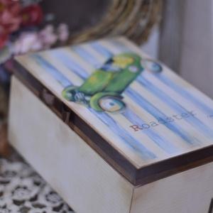 Baba kelengye doboz , Doboz, Tárolás & Rendszerezés, Otthon & Lakás, Decoupage, transzfer és szalvétatechnika, Rendelésre készítek kisfiúknak tároló dobozokat. A dobozhoz rendelhető kislányos mintával is. első k..., Meska