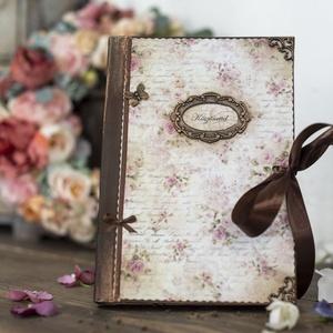 vintage napló, notesz, Otthon & Lakás, Papír írószer, Jegyzetfüzet & Napló, Decoupage, transzfer és szalvétatechnika, Rendelésre készítek naplókat, jegyzetfüzeteket  A5- ös méretben szép rusztikus papírlapokkal,egyedil..., Meska