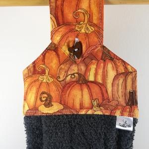 Tökös kis konyhai kéztörlő, Konyhafelszerelés, Otthon & lakás, Dekoráció, Varrás, .Madárka mintás  textil és frottír házasításából készítettem\nMéretek: magasság : cca: 45 cm\nszélessé..., Meska