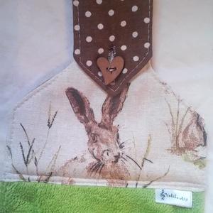 Nyuszifejes  konyhai kéztörlő, Konyhafelszerelés, Otthon & lakás, Dekoráció, Varrás, A törlő teteje dekor vászonból készült.\nKülönböző színű frottírokkal kérhető.\nMérete: 48x33,5 cm.\nGo..., Meska