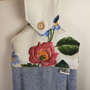 Vidéki romantika, ki a virágot szereti.......konyhai törlő, Konyhafelszerelés, Otthon & lakás, Varrás, Digitalprint eljárással nyomott dekor vászonból és frottírból készítettem,. Így jött létre ez a  csi..., Meska