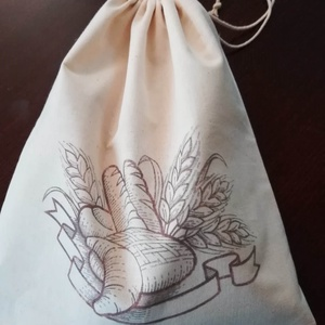 NoWaste kenyeres zsák, transzferált mintával, NoWaste, Textilek, Textil tároló, Varrás, Molinóból, transzfer technikával készítettem ezt a béleletlen kenyeres zsákot.\nElsősorban vásárlásho..., Meska