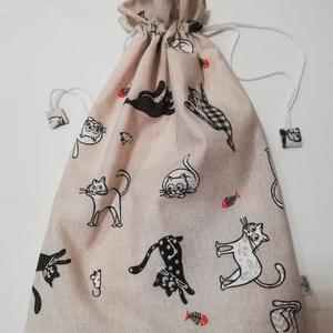 Macskás  kenyeres zsák , bélelt, Táska & Tok, Bevásárlás & Shopper táska, Kenyeres zsák, Varrás, Dekor vászonból  rendelésre készítettem, de elkészítem újra, ha szeretnéd. Pamutvászon béléssel. Hét..., Meska