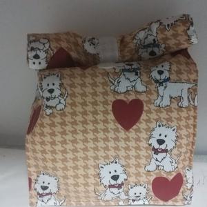 Westie kutyusok, uzsonnás táska, Táska & Tok, Uzsonna- & Ebéd tartó, Ebéd tasak, doboz, Varrás, Készítettem  uzsonnás táskát, belefér állítva egy 18x18x8 cm műanyag edény, ezzel fotóztam. Állítva ..., Meska